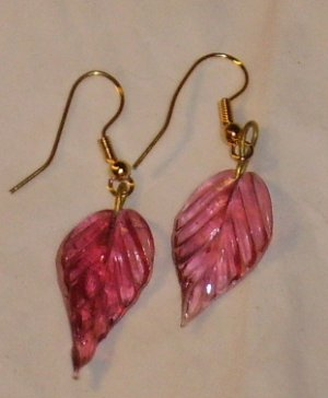 Jewlery, pretty rose colored earrings, leaf shaped