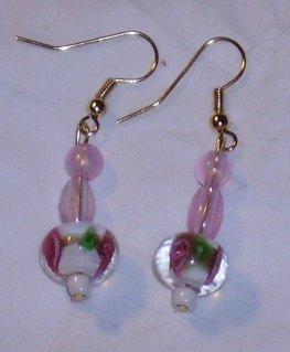 Pretty pink glass earrings