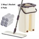 Hand-Free Wringing Floor Cleaning Mop Wet/Dry Magic Automatic Spin Self Cleaning (1 Mop 6 Pads)