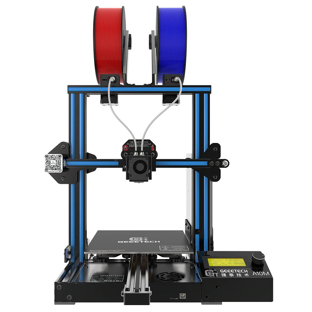 Geeetech NEW A10M 2 In 1 Dual Extruder Mix-Color Fast Assembly 3d Printer Break-resuming Capability