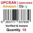 10-Nos UPC EAN Barcodes Numbers GS1 Product ID for New Listing on Amazon, eBay & more