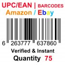 75-Nos UPC EAN Barcodes Numbers GS1 Product ID for New Listing on Amazon, eBay & more