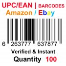 100-Nos UPC EAN Barcodes Numbers GS1 Product ID for New Listing on Amazon, eBay & more