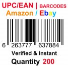 200-Nos UPC EAN Barcodes Numbers GS1 Product ID for New Listing on Amazon, eBay & more