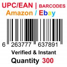 300-Nos UPC EAN Barcodes Numbers GS1 Product ID for New Listing on Amazon, eBay & more