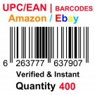 400-Nos UPC EAN Barcodes Numbers GS1 Product ID for New Listing on Amazon, eBay & more