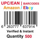500-Nos UPC EAN Barcodes Numbers GS1 Product ID for New Listing on Amazon, eBay & more