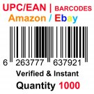 1000-Nos UPC EAN Barcodes Numbers GS1 Product ID for New Listing on Amazon, eBay & more