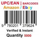 5000-Nos UPC EAN Barcodes Numbers GS1 Product ID for New Listing on Amazon, eBay & more