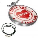 """LADIES 18"""" STAINLESS STEEL SILVER CIRCLE HEART I LOVE YOU BLACK CORD NECKLACE"""