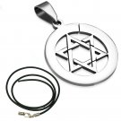 "UNSEX LADIES MENS 18"" STAINLESS STEEL SILVER STAR OF DAVID BLACK CORD NECKLACE"