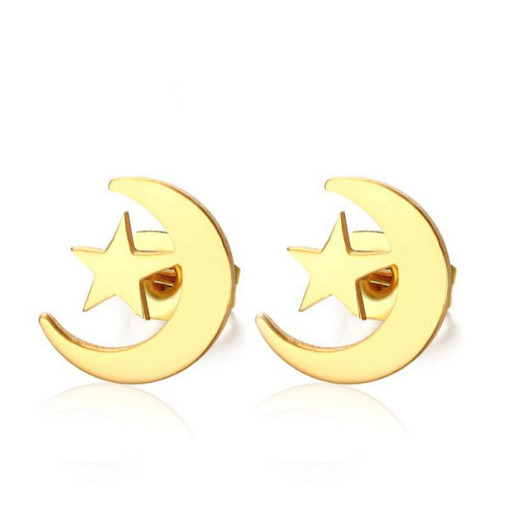 LADIES GIRLS GOLD PLATED POLISHED STAINLESS STEEL STAR MOON STUD EARRINGS