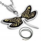 "LADIES 18"" STAINLESS STEEL COLOURFUL TRIBAL BUTTERFLY BLACK CORD NECKLACE"