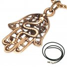 "LADIES 18"" STAINLESS STEEL BRONZE SNAKE FILIGREE HAMSA HAND BLACK CORD NECKLACE"