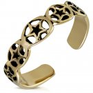 BRONZE ANTIQUE VINTAGE LOOK ADJUSTABLE LADIES GIRLS OVAL LINK STAR CUFF TOE RING