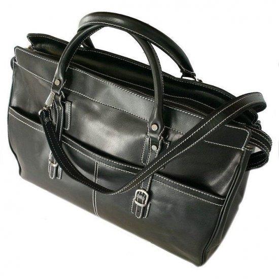 Floto Casiana Tote bag in Black leather SKU 56Black