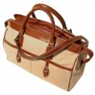 Floto Casiana Canvas Tote with Vecchio Brown Leather Trim SKU 55C
