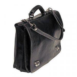 Floto Roma Messenger bag in Vecchio Black Leather SKU 106