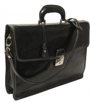 Floto Milano Italian Leather Laptop Briefcase in Black *SKU 66