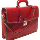 Floto Milano Italian Leather Laptop Briefcase in Tuscan Red *SKU 66