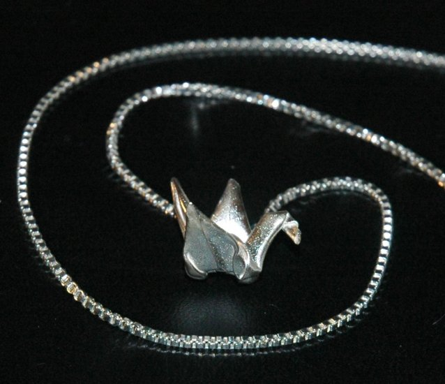Silver Origami Crane (Tsuru) Necklace on a Venetian Box style necklace