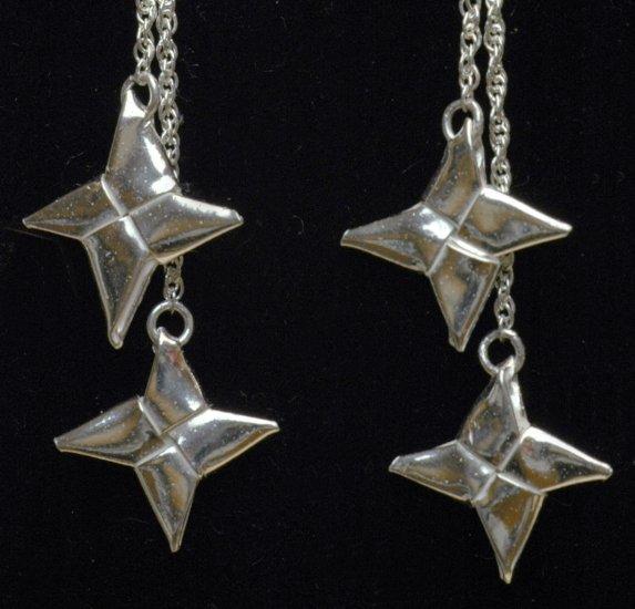 Double Ninja Throwing Star (Shuriken) - Silver Origami Drop Earrings - Metalgami