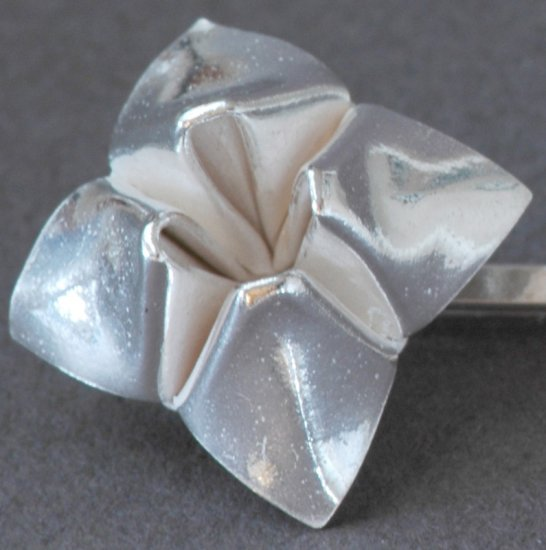 Cootie Catcher (Fortune Teller) Bobby Pin - Silver Origami Metalgami Hair Accessory