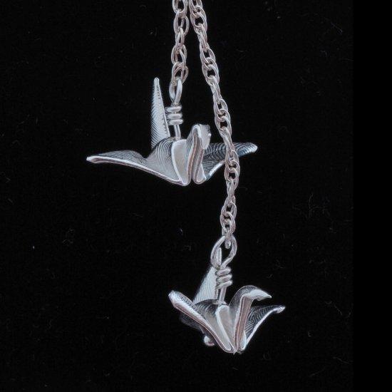 Embossed Fine Silver Origami (Metalgami) Dangling Peace Cranes (Tsuru) on a Sterling Silver Necklace