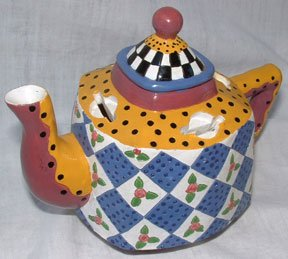 Ganz Bella Casa Teapot Bank Red Yellow Blue Tea Pot