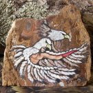 Eagle Dancer hand-painted agate serpentine stone slab, signed
