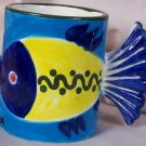 Ceramic Fish Coffee Mug - Cancun, Mexico souvenir, Blue Yellow, Fish tail handle, Bright and Fun