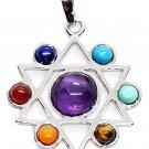 Chakra Silver Kabbalah Star of David Pendant silver Colour pendant