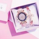 Luxury Ladies Watch Bracelet Set Starry Sky Ladies Bracelet Watch Casual Leather