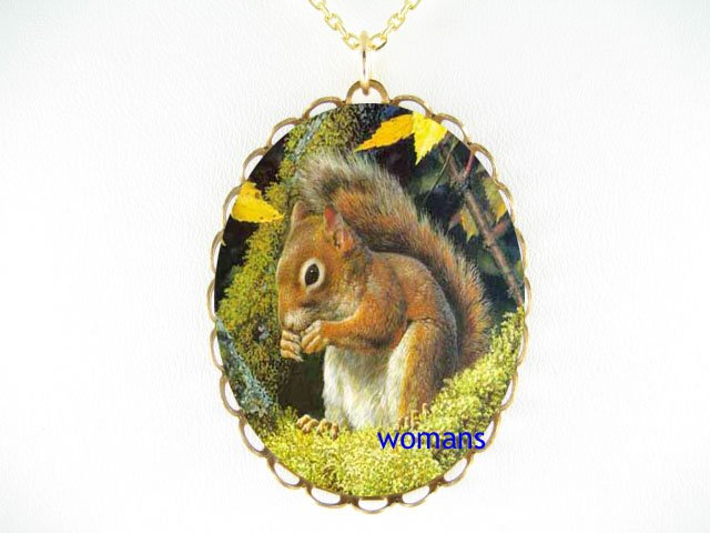 SQUIRREL EATING NUT PORCELAIN CAMEO PENDANT NECKLACE