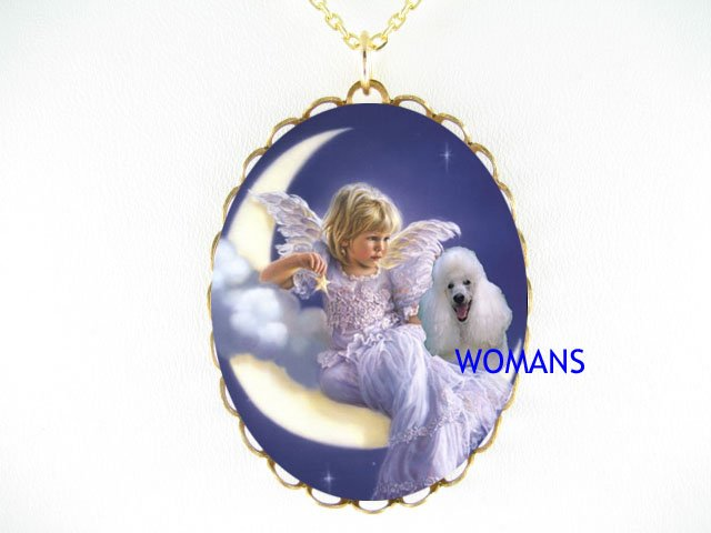 ANGEL MOON  POODLE DOG PORCELAIN CAMEO PENDANT NECKLACE