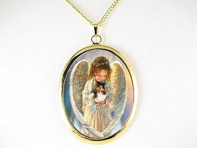 ANGEL HOLD SHELTIE SHEEPDOG CAMEO PORCELAIN NECKLACE