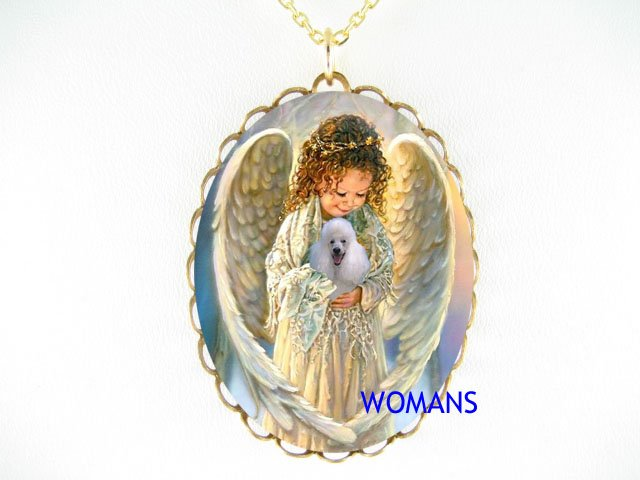 ANGEL HOLDING WHITE POODLE DOG CAMEO PORCELAIN NECKLACE