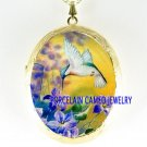 HUMMINGBIRD AND VIOLET PORCELAIN CAMEO LOCKET NECKLACE