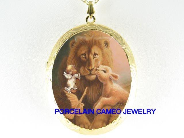 ANGEL LION & LAMB DOVE CAMEO PORCELAIN LOCKET NECKLACE