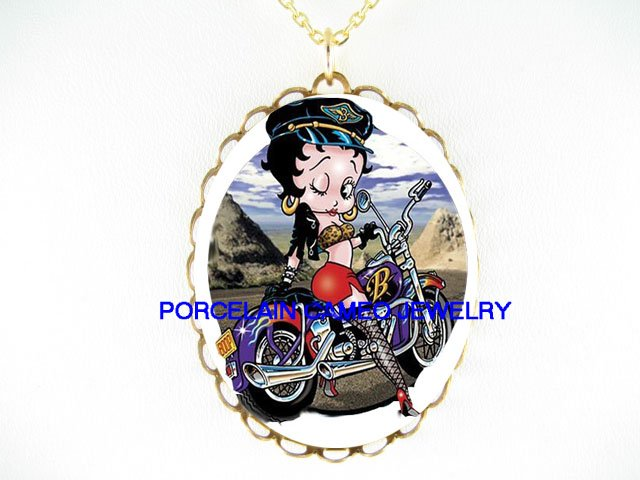 BETTY BOOP IN MOTORCYCLE BIKE PORCELAIN CAMEO NECKLACE