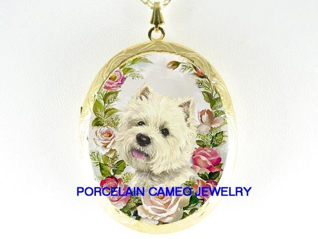 WESTIE TERRIER DOG ROSE PORCELAIN CAMEO LOCKET NECKLACE