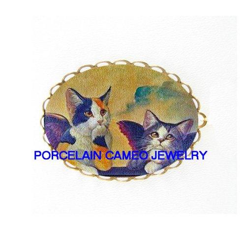 2 RAPHAEL CALICO ANGEL CAT CHERUB PORCELAIN PIN PENDANT