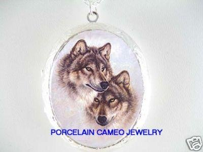 GREY WOLF WOLVES PORCELAIN CAMEO LOCKET NECKLACE