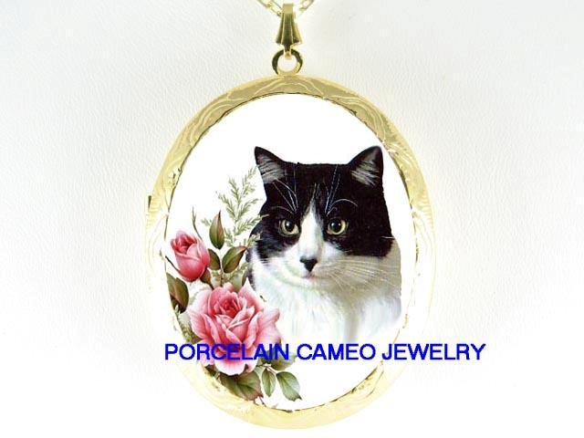 BLACK WHITE CAT ROSE PORCELAIN CAMEO LOCKET NECKLACE