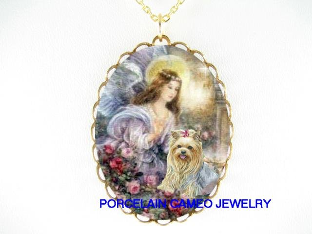 YORKSHIRE TERRIER DOG ANGEL CAMEO PORCELAIN NECKLACE