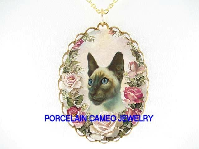 SIAMESE CAT WITH PINK ROSE PORCELAIN CAMEO NECKLACE