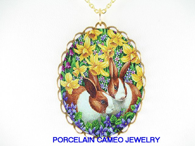 2 RABBIT BUNNY WITH DAFFODIL AND VIOLET* CAMEO PORCELAIN NECKLACE