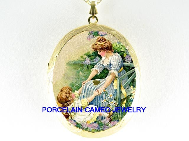 MOTHER AND DAUGHTER PLAYING AT THE GARDEN  *  CAMEO PORCELAIN LOCKET NECKLACE