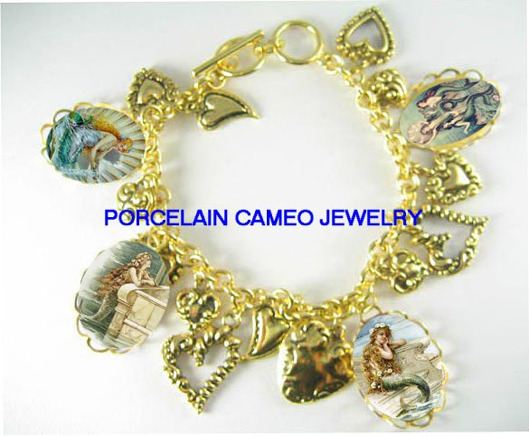 VICTORIAN MERMAID PORCELAIN CAMEO HEART CHARM BRACELET