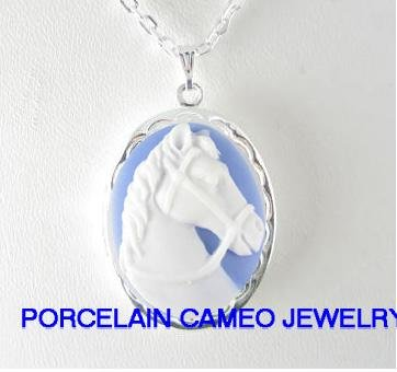 3D WHITE BLUE STALLION HORSE CAMEO LOCKET NECKLACE